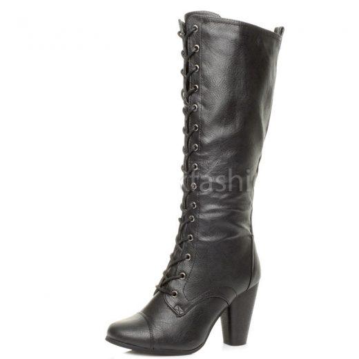 Cierne kozene cizmy na podpatku