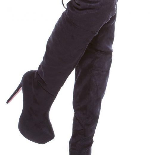 Tmavomodre semisove cizmy nad kolena