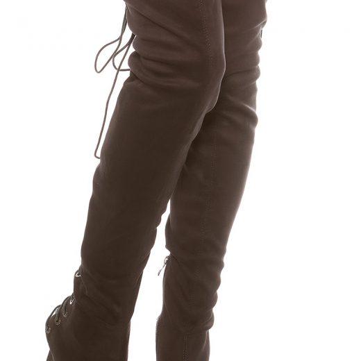 Antracitove vysoke cizmy nad kolena s otvorenou spickou a snurovackou