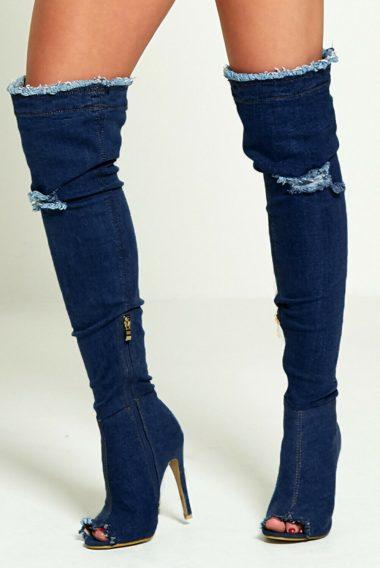 Tmavomodre riflove cizmy nad kolena