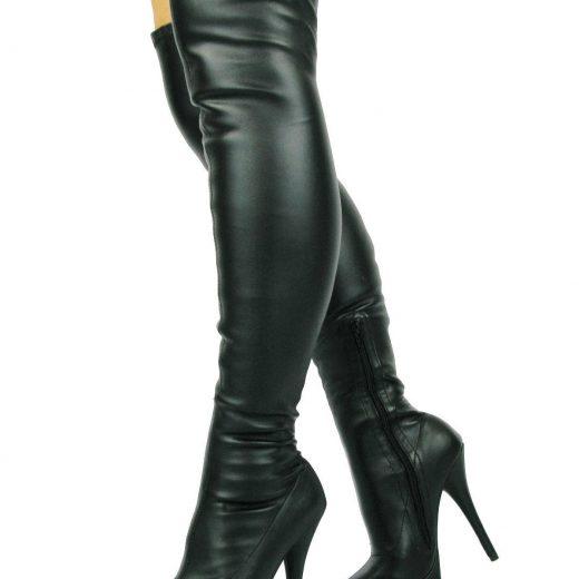 Kozene cizmy nad kolena na podpatku