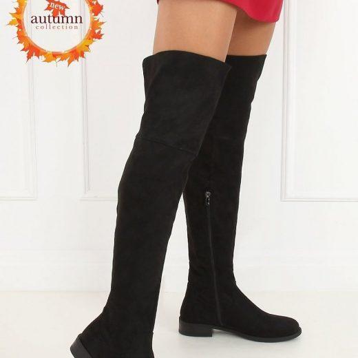 Cierne semisove cizmy nad kolena na nizkom podpatku